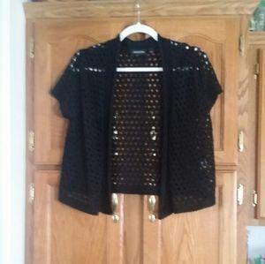 ECU - NOTATIONS Black short sleeve summer sweater